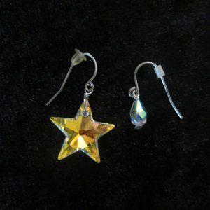 Two Prs Swavorski Stars/Aurora Borealis Earrings